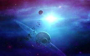 Picture space, nebula, star, planet, ring, asteroids, art