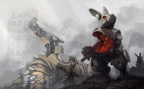 Picture girl, the city, tiger, weapons, rain, smoke, mechanism, robot, rabbit, fur