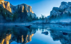Picture water, landscape, mountains, nature, fog, rocks