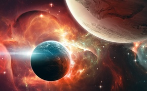Picture space, nebula, planet, art