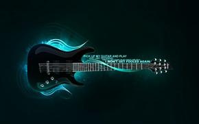 Wallpaper treatment, blue, guitar