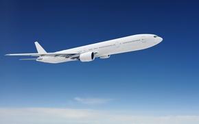 Wallpaper white, the sky, clouds, flight, the plane, blue, passenger
