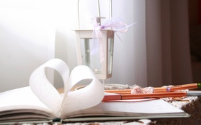 Picture heart, candle, flashlight, book, page, markers