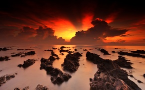 Picture sea, rocks, sea, rocks, orange sky, Orange sky