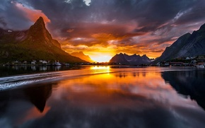 Picture sunset, mountains, river, beautiful