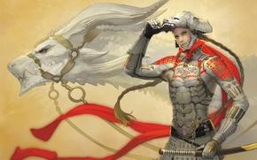 Picture dragon, sword, art, armor, guy, takayama toshiaki