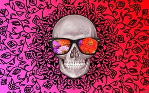 Picture flowers, abstraction, pattern, Skull, glasses, interesting, rayban