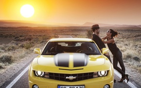 Picture road, car, auto, the sky, girl, the sun, Chevrolet, Machine, guy