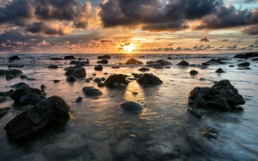 Picture sea, wave, clouds, sunset, rocks, waves, sea, sunset, clouds, rocks, yellow sky, yellow sky