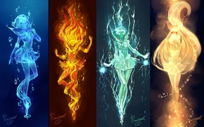 Picture water, light, girls, fire, elements, anime, art, electricity, sailor mars, Bishoujo Senshi Sailor Moon, mizuno …