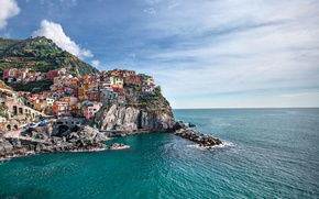 Picture sea, the sky, rock, home, Italy, Manarola, Manarola, Liguria
