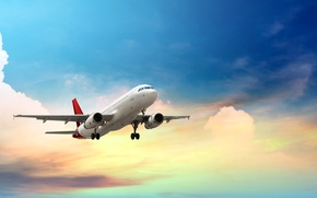 Wallpaper the sky, clouds, the plane, height, flies, passenger, airliner