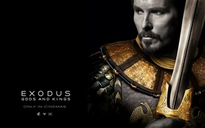 Wallpaper sword, armor, black background, Christian Bale, Christian Bale, Moses, Exodus: Gods and Kings, Moses, Exodus: ...