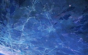 Picture the sky, stars, night, anime, art, anime, art