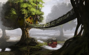 Wallpaper trees, landscape, bridge, river, ship, home, art, hut, boat