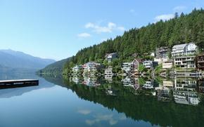 Picture nature, building, home, Canada, Nature, Canada, landscape, lake Cultus, Cultus lake