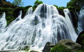 Picture river, stones, waterfall, stream, Armenia, the bushes, Armenia, Shaki, Shaki, The Shaki waterfall