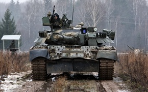 Picture beauty, Forest, Dirt, armor, Russia, the crew, T-80U