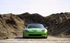 Wallpaper Chevrolet, GREEN, LAND, MOUND, Corvette