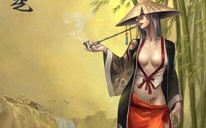 Picture girl, waterfall, tube, bamboo, tattoo, kimono