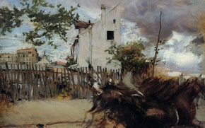 Picture house, the fence, picture, horse, Giovanni Boldini, The Outskirts Of Paris