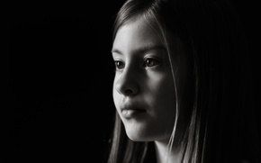 Picture look, children, face, background, black and white, Wallpaper, mood, profile