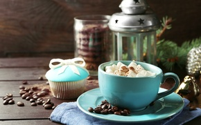 Picture coffee, milk, cookies, lantern, Cup, cup, cocoa, coffee, cakes, cocoa, milk, cakes, lantern, biscuits