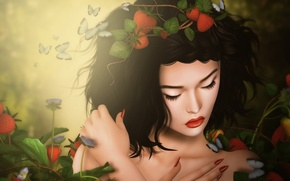 Picture sadness, girl, butterfly, brunette, strawberry
