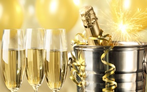 Picture bottle, New Year, glasses, golden, champagne, serpentine, New Year, sparklers, bucket, celebration, holiday, Happy, champagne