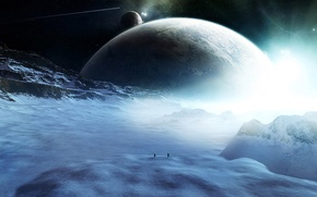 Picture space, stars, snow, people, planet, comet, figure, travelers