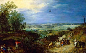 Picture picture, Jan Brueghel the elder, Landscape with Peasants