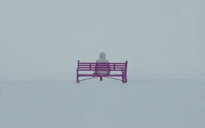 Wallpaper fog, people, bench, mood