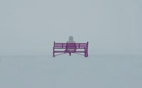 Wallpaper fog, mood, people, bench