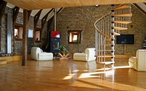 Wallpaper style, room, interior, ladder, living room