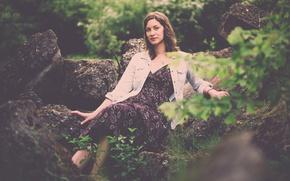 Picture dress, woman, rocks, sunlight