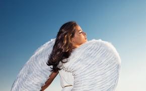 Picture girl, hair, wings, angel, white dress, blue sky