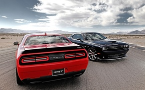 Wallpaper road, the sky, clouds, red, black, Dodge, Dodge, Challenger, rear view, the front, Muscle car, ...