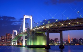 Picture megapolis, capital, lighting, Bay, lights, capital, night, building, lights, clouds, Tokyo, Japan, bridge, home, glare, ...