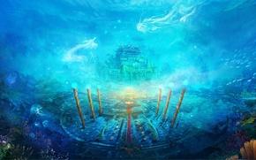Picture fish, magic, dragons, corals, columns, temple, underwater world, under water