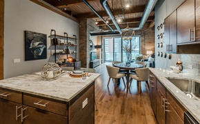 Picture style, timber, interior, apartment, loft, exposed brick, streeterville