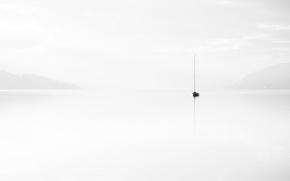 Picture landscape, fog, lake, boat, minimalism