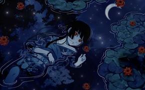 Wallpaper a month, reflection, water, girl, eyes, kimono