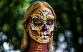 Picture face, background, paint, day of the dead, day of the dead