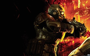 Picture machine, armor, fighter, gears of war, Lenser
