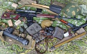 Wallpaper pomegranate, binoculars, cartridges, sight, helmet, SVD, 62 mm, bayonet knife, Dragunov sniper rifle