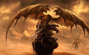 Picture mountains, rock, dragon, wings, sword, warrior, art, skull, helmet, Dragon Eternity, dragons of eternity
