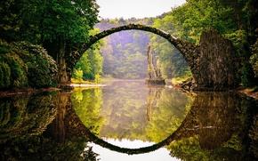 Wallpaper nature, river, the bridge, reflection