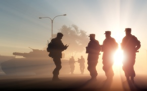 Picture light, people, army, soldiers, silhouettes, men