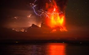 Picture night, lake, the volcano, the eruption, Chile, Andes, Calbuco