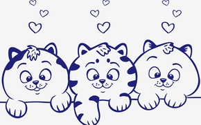 Picture animals, look, vector, kittens, hearts